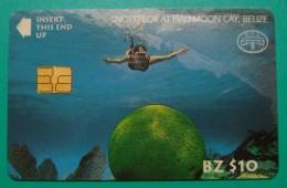 BELIZE 10$ CHIP CARD ND, SNORKELOR AT HALFMOON CAY, UNUSED LITTLE OPENED. - Belize