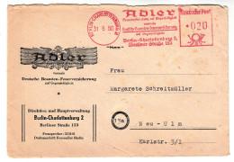 Berlin Brief-Kuvert,  Firmen Freistempel Adler Versicherung, Mit Vignette Deutsche Industrie-Ausstellung 1950 - Briefe U. Dokumente