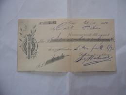 ASSEGNO RODOLFO CANTALUPPI E FRATELLI MOLINO A CILINDRI COMO  1910 - Assegni & Assegni Di Viaggio