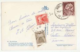 CP 1pta Espagne Taxée 0,30F à L'arrivée à Oullins Rhône - Poststempel (Briefe)
