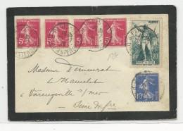 1936 - ENVELOPPE De PARIS Pour VARENGEVILLE SUR MER (SEINE INF.) - SEMEUSE - Francia