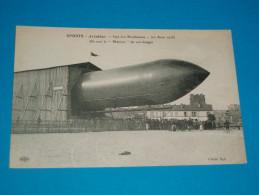 """92 ) Issy-les-moulineaux - Aviation - Dirigeable """" On Sort Le """" MALECOT """" De Son Hangar 20 Aout 1908 - EDIT : ELD - Issy Les Moulineaux"""