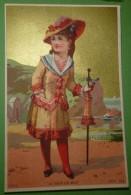 Belle Chromo Fond Or - Au Bain De Mer - Fille élégante à La Mer - Aubry Série 793 - Chromos