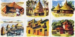 1 PLANCHE DE 6 IMAGES CARTONNÉES 6X8cm LES HABITATIONS DU MONDE COULEUR EDITIONS LES PLAISIRS ET LES JEUX VERS 1980/90 - Livres, BD, Revues