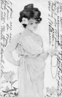Femme Avec Collier De Perles Dans La Main  - Style Art Deco - 1900-1949
