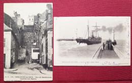 CPA-BOULOGNE SUR MER-PAS DE CALAIS-62-2 CARTES-SORTIE DU PORT A MAREE HAUTE-RUE DU MACHICOULIE - Boulogne Sur Mer