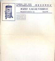 Factuur Facture - Fabriek Was En Droogmachines Recorda - Jozef Lagae - Verrue - Hulste - Belgium