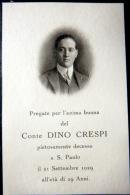 ITALIE  FAIRE PART DE DECES MEMENTO MORI  GENEALOGIE  COMTE DINO CRESPI   AVEC PHOTO - Non Classificati