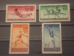 YUGOSLAVIA - 1938 SPORT 4 Valori - NUOVI(+) - Nuovi