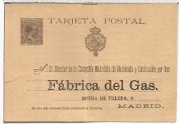 ALFONSO XIII ENTERO POSTAL (PEQUEÑA ROTURA PARTE IZQUIERDA) PRIVATIZADO PARA FABRICA DE GAS DE MADRID GAS COK CARBON COA - Gas