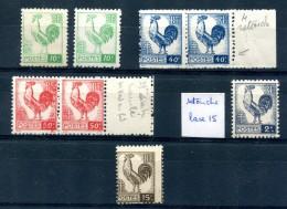 Type Coq D'Alger - Yvert 630 632 633 640 647 Avec Variétés - T 277 - 1944 Coq Et Marianne D'Alger
