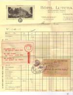 France Revenue - 50c Fiscal On 1922 Hotel Lutetia Bill Paris - Fiscale Zegels