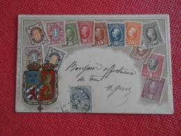 Sverige Sweden Suede Fantasie Carte Des Timbres 1905 En Relief - Fantaisies
