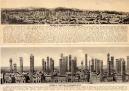 55Nja  Italie Bologna Ai Tempi Che Vi Soggiorno Dante Serie Complete Lot De 6 Cpa Panoramiques 2 Volets (rare) - Bologna