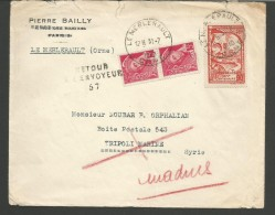 SPFR15--STORIA POSTALE-POSTAL HISTOIRE ,,  LE MERLERAULT, ORNE----TRIPOLI MARINE,  SYRIE, - Francia