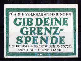 A3869) Oberschlesien Propaganda-Vignette Grenzspende 1921 - Deutschland