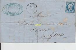 Timbre Sur Lettre Puits Andelys 29 Octobre 1861 - 1853-1860 Napoleone III