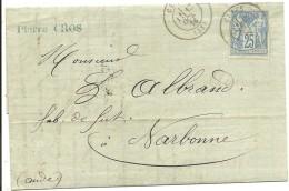 CARTA 1876 CETTE A NARBONE - Marcofilia (sobres)