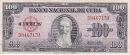 BILLETE DE CUBA DE 100 PESOS DEL AÑO 1954 DE AGUILERA  (BANKNOTE) - Kuba