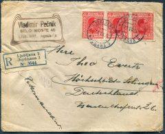 1926 Ljubljana Registered Cover - Hohscheid, Germany - 1919-1929 Königreich Der Serben, Kroaten & Slowenen