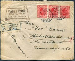 1926 Ljubljana Registered Cover - Hohscheid, Germany - 1919-1929 Kingdom Of Serbs, Croats And Slovenes