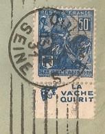 Lettre Avec Timbre à Bande Publicitaire Type Jeanne D'arc N° 257. Pub Publicité Carnet Réclame Vache Qui Rit - Publicidad