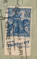 Lettre Avec Timbre à Bande Publicitaire Type Jeanne D´arc N° 257. Pub Publicité Carnet Réclame Vache Qui Rit - Advertising