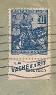 Lettre Avec Timbre à Bande Publicitaire Type Jeanne D'arc N° 257. Pub Publicité Carnet Réclame Vache Qui Rit - Advertising