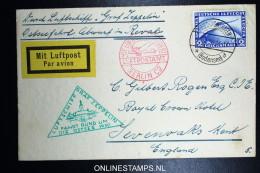 Graf Zeppelin Fahrt Rund Um Die Ostsee 1930   LZ 127   Mi 423  über Berlin C 2 Luftpostamt Nach England - Luchtpost