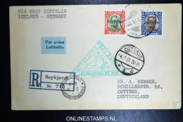Graf Zeppelin Islandfahrt 1931, Isländische Post, Frankiert Mit 1 Kr. U. 30 A. Zeppelin-Marken Als R-Beleg Nach Cottbus - Poste Aérienne