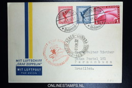Graf Zeppelin 4. Südamerikafahrt 1933 Sieger 223  Mixed Stamps  To Pernambuco Brasilien - Airmail