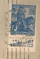 Lettre Avec Timbre à Bande Publicitaire Type Jeanne D'arc N° 257. Pub Publicité Carnet Réclame Vache Qui Rit - Publicités