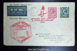 Graf Zeppelin 5. Südamerikafahrt  Sieger 226 B Norwich Berlin Friedrichshafen Rio De Janeiro Brasil. - 1902-1951 (Könige)
