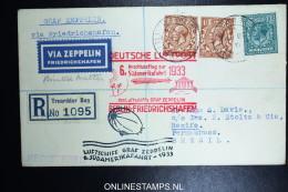 Graf Zeppelin 6. Südamerikafahrt  Sieger 229 B Norwich Berlin Friedrichshafen Pernambuco Brasil. Registered Cover - 1902-1951 (Könige)