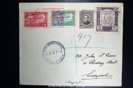 Graf Zeppelin Südamerikafahrt 1933, Paraguayische Post, R-Brief Mit Zeppelin-Marken Nach Liverpool - Luftpost