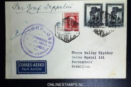 Graf Zeppelin 1. Südamerikafahrt 1933, Spanish Post,  Barcelona To Pernambuco Brasil Registerd - Aéreo