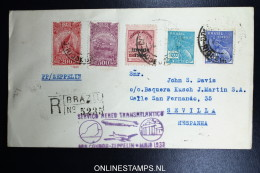 Graf Zeppelin 1. Südamerikafahrt 1933, Brasilianische Post,  Nach Sevilla Registered Zeppelin Stamp  Sieger 205 - Luftpost