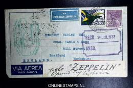 Graf Zeppelin 3. Südamerikafahrt 1933, Brasilianische Post,  Nach Bradford UK  Sieger 220  Opened By Customs - Luftpost