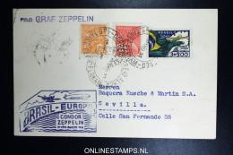 Graf Zeppelin 5. Südamerikafahrt 1933, Brasilianische Post, To Sevilla   Sieger 227 A - Luftpost