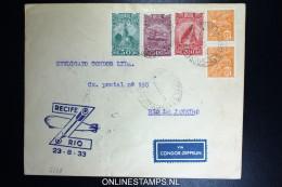 Graf Zeppelin 5. Südamerikafahrt 1933, Brasilianische Post, Recife To Rio   Sieger 227 B - Luftpost