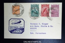 Graf Zeppelin 5. Südamerikafahrt 1933, Brasilianische Post,   Rio  To Recife  Sieger 227 C - Luftpost