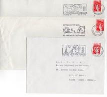 1979 - 3 Enveloppes Avec Oblitération SECAP : Un Chat Fait La Propreté De La Ville De Paris - Affrancature Meccaniche Rosse (EMA)