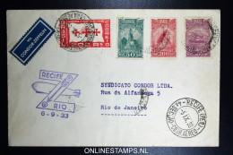 Graf Zeppelin 7. Südamerikafahrt 1933, Brasilianische Post,  Recife  To  Rio  Sieger 233 B - Luchtpost