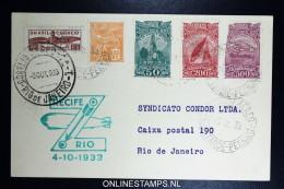 Graf Zeppelin 8. Südamerikafahrt 1933, Brasilianische Post,   Recife  To Rio Sieger 236 B - Luftpost