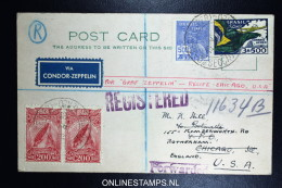 Graf Zeppelin 8. Südamerikafahrt 1933, Brasilianische Post,  Recife  To Chicago Sieger 238 R Etappe Registered Forwarded - Luftpost