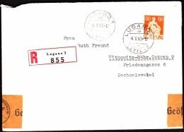 Switzerland Lugano 1940 To Czechoslovakia / CENSORSHIP - ZENSUR / Oberkommando Der Wehrmacht Geöffnet - Schweiz