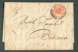 15 Cent. Obl. Dc MANTOVA Sur Lettre Du 16 Août 1852 Vers Brescia - 11066 - Lombardo-Vénétie