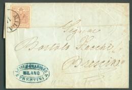 30 Cent. Obl. Sc MILANO Sur Lettre Du 13 Mars 1857 Vers Brescia - 11067 - Lombardo-Vénétie