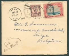 3c. + PA 5 C. Obl. Mécanique MIAMI Sur Enveloppe Du 3 Décembre 1930 Vers Liège - 11070 - 1c. 1918-1940 Covers