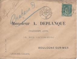 Cachet Ambulant De Jour EPERNAY A PARIS B 1896 Timbre 5c Sage Papiers D´affaires - Marcophilie (Lettres)